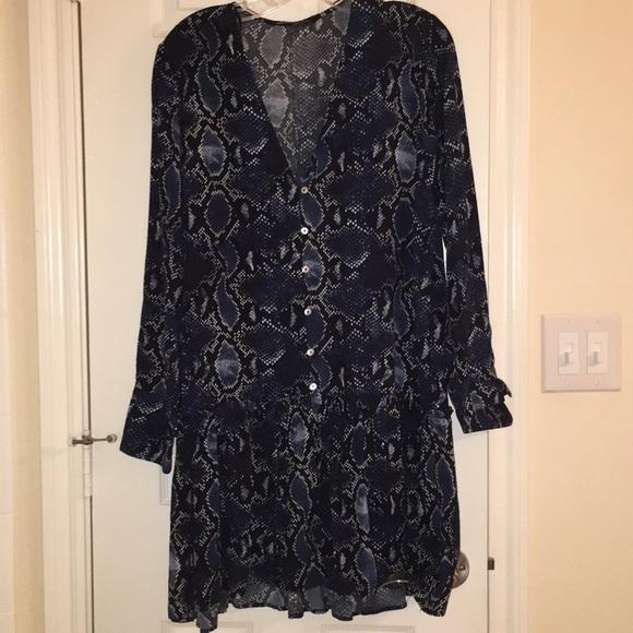 Zara Dresses & Skirts - Zara blue snake print dress